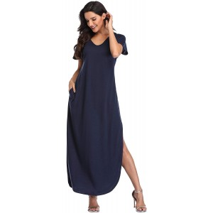 Women's Maxi Dresses Short Sleeve Floral Solid Summer Beach Dress Casual Loose V Neck Side Split Long Dress with Pockets at  Women's Clothing store