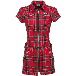 Womens Plaid Punk Mini Dress with Buckles and Lacing at  Women's Clothing store