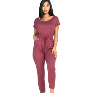 Capella Apparel Mauve Off The Shoulder Women's Casual Solid Jumpsuit Drawstring Waist Stretchy Long Pants Romper with Pockets