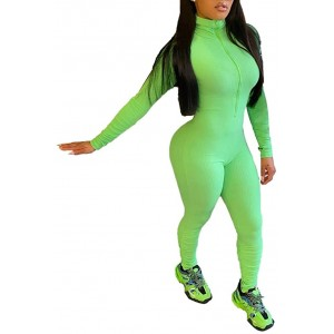 ECHOINE Womens Sexy Zipper One Piece High Neck Long Sleeve + Stacked Pants Bodycon Jumpsuit Outfit Rompers Clubwear