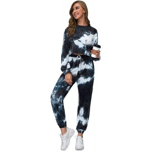 Floerns Women's Long Sleeve Crop Sweatshirt Top and Joggers Tracksuit Set at Women's Clothing store