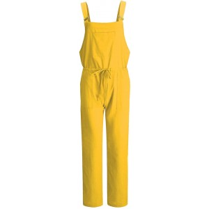 Flygo Women's Casual Linen Cotton Adjustable Strap Overalls Jumpsuits Drawstring Pants X-Large Yellow