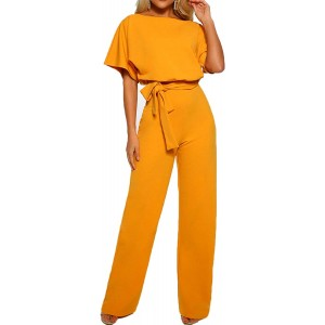 GOSO Womens Casual Short Sleeve Belted Jumpsuits Keyhole Back Wide Leg Pant Romper Overalls