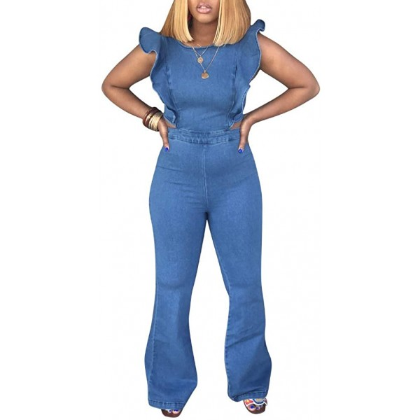 HuiSiFang Women's Ruffle Sleeveless High Waisted Long Pants Demin Jumpsuit Romper Plus Size Blue at Women's Clothing store