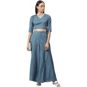 Janasya Women's Teal Rayon Crop Top with Palazzo at Women's Clothing store