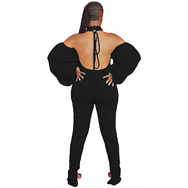Kafiloe Women's Sexy Bodycon Halter Cold Shoulder Backless Party Long Jumpsuits Romper Stacked Pants