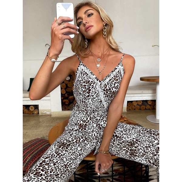 Lovinchic Women's Sexy V Neck Spaghetti Strap Leopard Jumpsuits Drawstring Waist Long Rompers Overall with Pockets