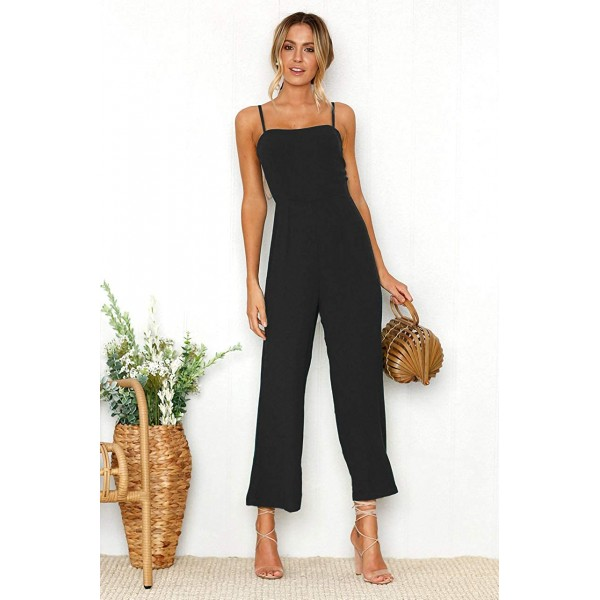 ROVLET Women's Casual Spaghetti Strap Jumpsuit Summer Loose Wide Leg Cropped Pants Sleeveless Romper