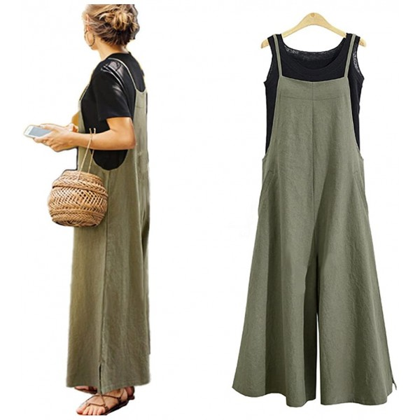 Wide Leg Jumpsuits for Women Overalls Plus Size Halter Casual Sleeveless Loose Wide Long Pants Jumpsuit Rompers 3X Green