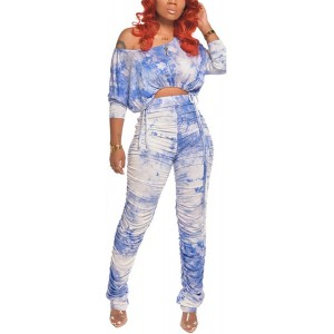 Womens Tie-Dyed Printing Long Sleeve Irregular Top Shirt + Stacked Pants Set 2 Piece Outfit at  Women's Clothing store