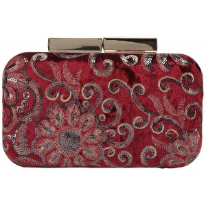 Fawziya Clutches And Evening Bags Sequin Velvet Purse Clutch-Red Handbags