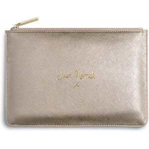 Katie Loxton Just Married Medium Vegan Leather Clutch Bridal Perfect Pouch Metallic Gold