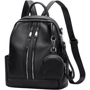 ALTOSY Genuine Leather Backpack Purse for Women Versatile Shoulder Bags with mini Coin Purse S77 Black