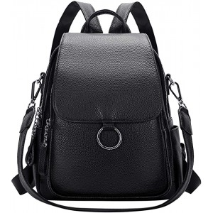 ALTOSY Women Leather Backpack Purse Fashion Convertible Ladies Shoulder Bag with Flap S96 Classic Black