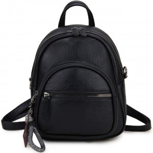 Mini Backpack Purse Small Convertible Backpack for Women Ladies Girls VONXURY Black