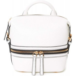 White Leather Backpack Purse For Women Luxury Genuine Pebble Convertible Crossbody Bookbag Stylish Over the Shoulder Fashion Purses and Handbags Expensive Look Trendy Designer Bag Front Zipper Pockets
