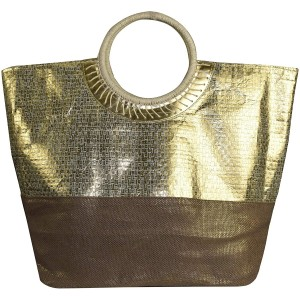 Peach Couture Gold Weave Large Travel Tote Hobo Handbags Shoulder Bags Brown