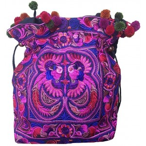 Rhapsody Hmong Tribal Ethnic Thai Indian Vintage Style Embroidered Hobo Shoulder Bag Pink Medium