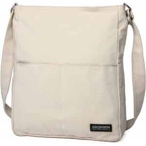 YONGWEI Canvas Casual Shoulder Work Bag Crossbody Multiple Pockets Tote Hobo For Womens white