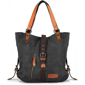 Canvas Tote Purse for Women - Mifine Canvas Shoulder Bags 2 in 1 Casual Handbags Convertible Backpack Outdoor Travel Vintage Satchel Rucksack for Unisex