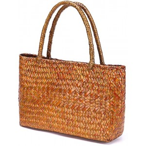 QTKJ Hand-woven Large Retro Straw Shoulder Bag for Women Summer Beach Boho Rattan Tote Travel Bag with Straw Top Handle Gold