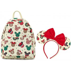 Loungefly Disney Christmas Mickey and Minnie Cookie Headband and Double Strap Shoulder Bag Gift Set White Standard