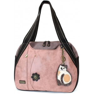 Chala Handbags Dust Rose Shoulder Purse Tote Bag with Key Fob Coin Purse - Dusty Rose LaZzy Cat - Dusty Rose