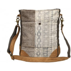 Myra Bag Authentic Vintage Upcycled Canvas & Cowhide Leather Shoulder Bag S-1231 Brown One Size
