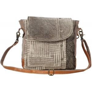 Myra Bag Edge Flap Upcycled Canvas & Cowhide Leather Shoulder Bag S-1544