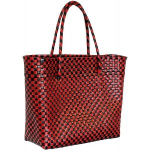 """Oaxaca Designs Hand Woven Market Bag Shoulder Beach Tote For Women - Multi Use Durable Tote - Red And Black - 100% Recycled Plastic - Size 11"""" X 10.5"""" X 6"""""""