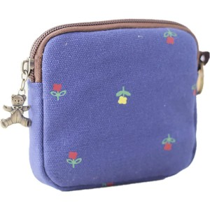 Cute Youth Korean Japanese Style Canvas Novelty Square Wallet Coin Purse Credit Card Photo Bill Key Holder #SD7923 Navy Blue Little Flower Pattern