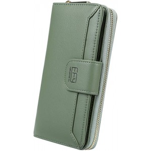 Cynure Women's Long 12 Slots Card Holder Leather Long Zipper Clutch Wallet for Ladies Green 20024