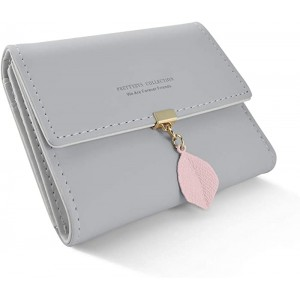 DLseego Small Wallet for Women PU Leather Leaf Pendant Card Holder Organizer Zipper Coin PurseGray