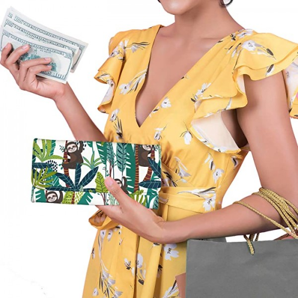 FUIBENG Sunflowers Butterfly Clutch Wallet for Women Girl,Trifold Wallets Clutch Purse Card Holder Case Coin Money Bags She's Sunshine,Mixed With Little Hurricane