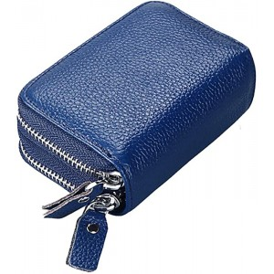 Mengshen RFID Blocking Women Wallets Excellent Credit Card Holder with Double Zipper Super Large Capacity PX09 Blue