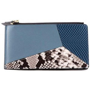 Multi Card Case Wallet For Women Credit Card Organizer Holder With Zipper Girls Ultra Slim Purse Thin Large Blue
