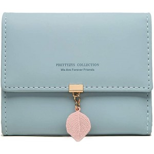 Oweisong Women Small Wallet PU Leaf Card Holder Trifold Ladies Wallets Coin Zipper Case Purse With ID Window