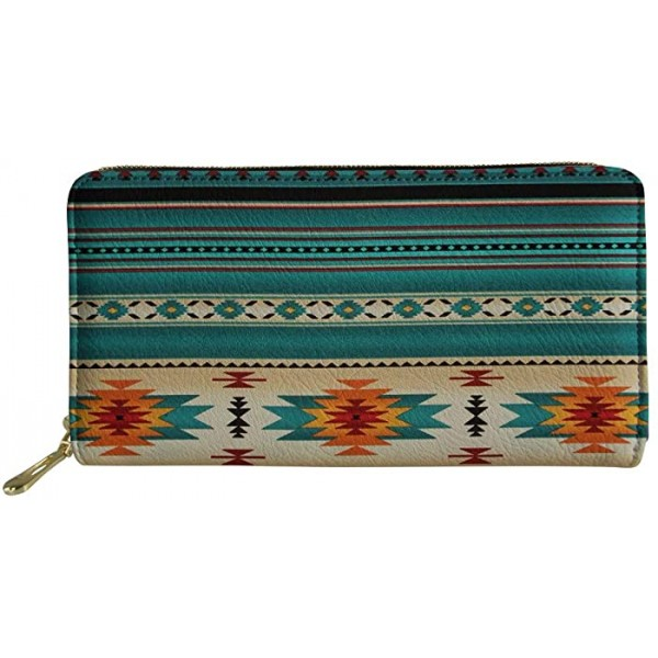 Poceacles Southwestern Native American Aztec Women's Zipper Wallets Turquoise Stripes Print Leather Clutch Purse Credit Card Cases