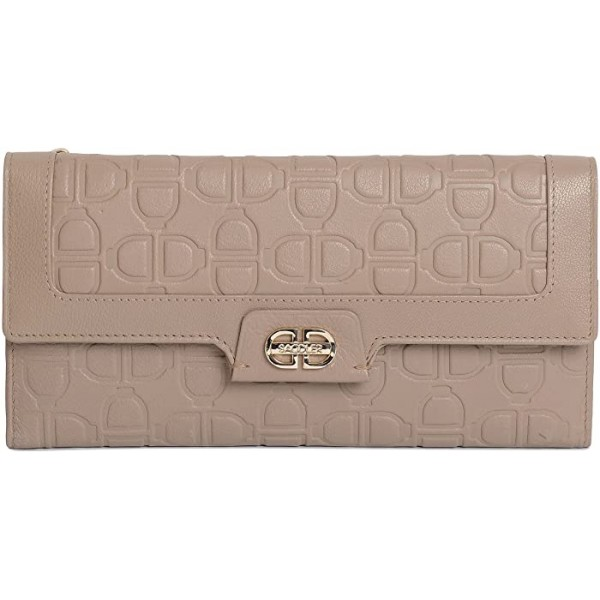 SADDLER Womens Large Leather Trifold Credit Card Coin Purse Wallet |Gift Boxed - Putty Grey