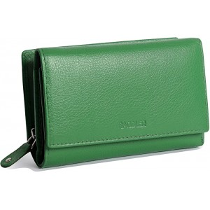 SADDLER Womens Luxurious Leather Trifold RFID Protected Wallet Clutch Purse with Zipper Coin Purse Designer Multi Credit Card Holder for Ladies Gift Boxed- Green