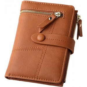 Womens RFID Blocking Brown Leather Organized Wallets Purse Compact Bifold Clutch for Girls