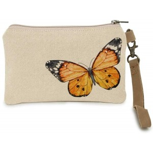 Cott N Curls Monarch Butterfly Zip Wallet Wristlet Zip Pocket Canvas Printed Dry Clean Only 17 Inches Width Wristlet for Womens Handbags