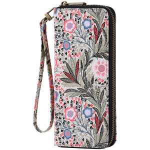 HAWEE Women's Clutch Wallet Fabric Zippered Purse with Wristlet Floral Pink Fissidens Flower