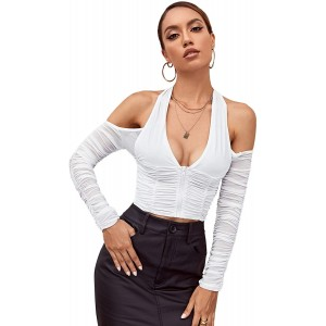 Romwe Women's Off The Shoulder Ruched Long Sleeve Zip Up Halter Crop Tops Blouse at  Women's Clothing store