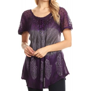 Sakkas Lily Casual Everyday Summer Short Sleeve Top Blouse with Block Print & Lace at  Women's Clothing store