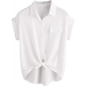 WDIRARA Women's Button Tie Front Short Sleeve Shirt Casual Collar Blouse Top at  Women's Clothing store
