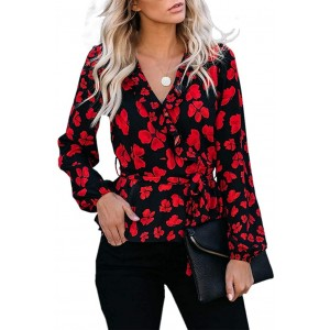 Womens Floral V Neck Tops Long Sleeve Wrap Chiffon Ruffle Blouses Tie Waist Knot Shirts at  Women's Clothing store