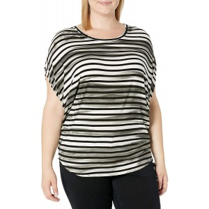SLINK Jeans Women's Plus Size Striped Dolman Top at Women's Clothing store