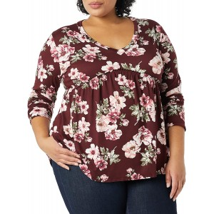 Star Vixen Women's Plus Size Long Sleeve Babydoll Top with V Neck Burg Floral 2X at  Women's Clothing store