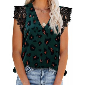 CANIKAT Womens Casual V Neck Sleeveless Shirts and Blouses Loose Flowy Fashion Printed Chiffon Camisole Tank Tops Green M at Women's Clothing store